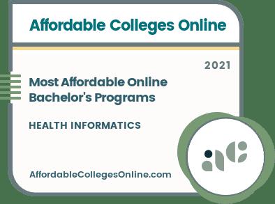 Most Affordable Online Bachelor's in Health Informatics Programs badge