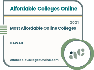 Most Affordable Online Colleges in Hawaii badge