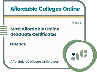 Most Affordable Online Graduate Certificates in Finance badge