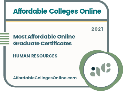 Most Affordable Online Graduate Certificates in Human Resources badge