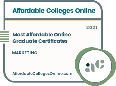 Most Affordable Online Graduate Certificates in Marketing badge