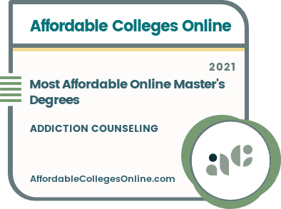 Most Affordable Online Master's in Addiction Counseling Degrees badge