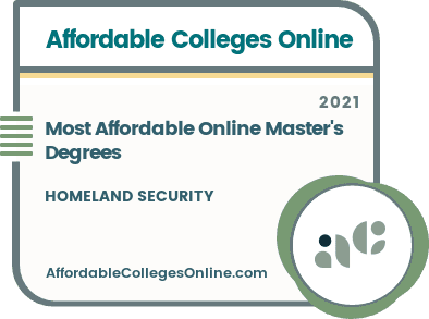 Most Affordable Online Master's Degrees in Homeland Security badge