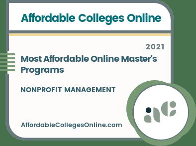 Most Affordable Online Master's in Nonprofit Management Programs badge