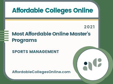 Most Affordable Online Master's in Sports Management Programs badge