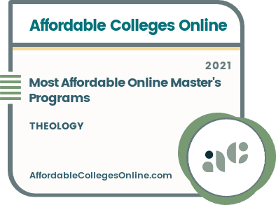 Most Affordable Online Master's in Theology Programs badge