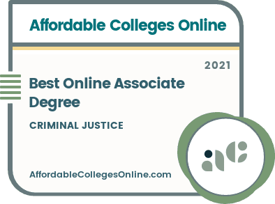 Best Online Associate Degree in Criminal Justice badge