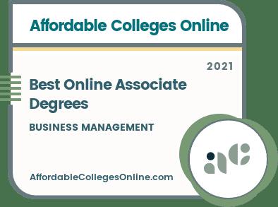Best Online Business Management Associate Degrees badge