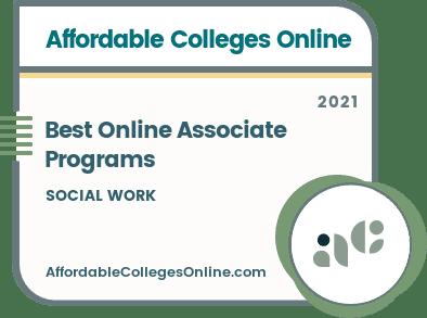Best Online Associate in Social Work Programs badge