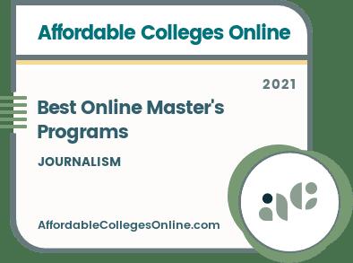 Best Online Master's in Journalism Programs badge