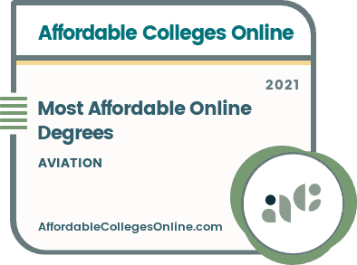 Most Affordable Online Aviation Degrees badge