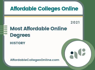 Cheapest Online History Degree badge