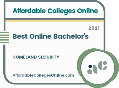 Best Online Bachelor's in Homeland Security badge