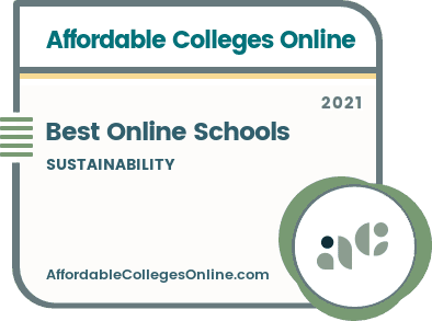 Best Online Sustainability Schools badge