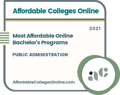 Most Affordable Online Bachelor's in Public Administration Programs badge
