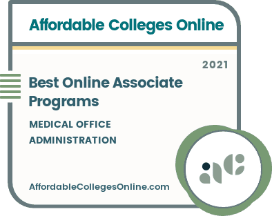 Best Online Associate in Medical Office Administration Programs badge