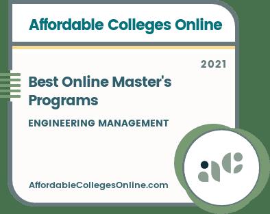 Best Online Master's Programs in Engineering Management badge