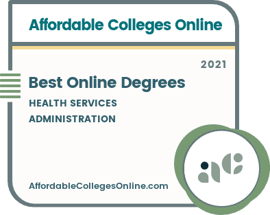 Best Online Health Services Administration Degrees badge