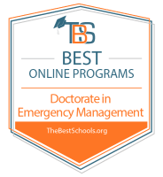 Best Online Doctorate in Emergency Management Programs Badge