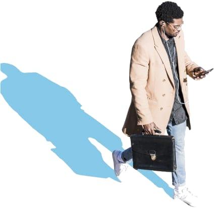 Man on Phone Walking