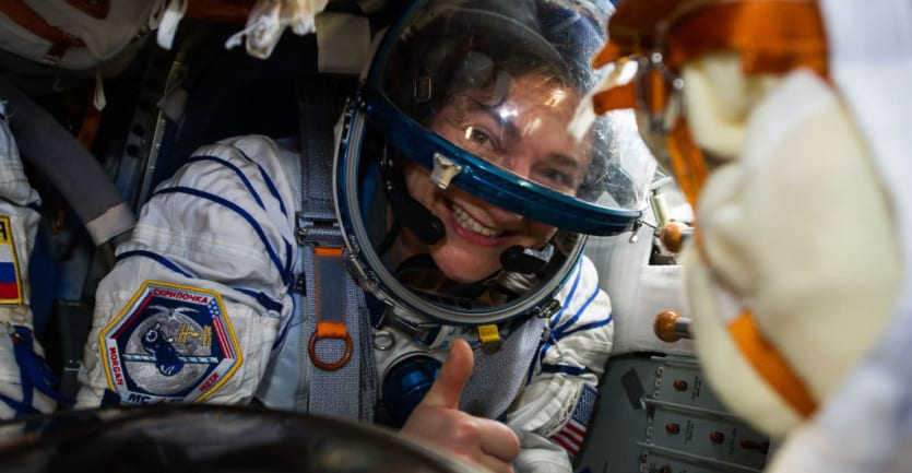 U.S. astronaut Jessica Meir of NASA gives a thumbs-up after landing aboard the Soyuz MS-15 capsule with two other ISS Expedition 62 crew members in Kazakhstan.