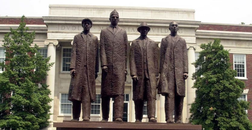 A statue at North Carolina A&T celebrating student activists who staged a sit-in at the Woolworth Company store in 1960.