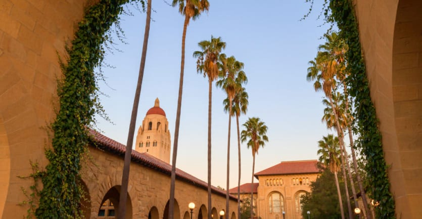 The campus of Stanford University, which boasts the fourth-largest private endowment in the country.