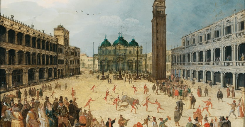 A 17th-century depiction of Carnevale at Piazza San Marco, Venice, by Sebastian Vrancx.