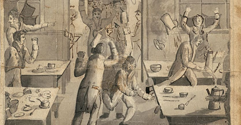 An illustration of Harvard students rioting over dining hall food in the 18th century.