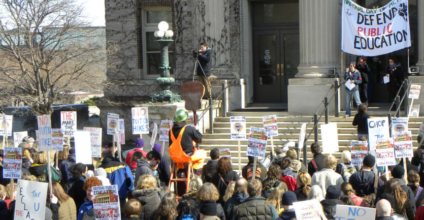 A 2010 student protest at the University of Minnesota.