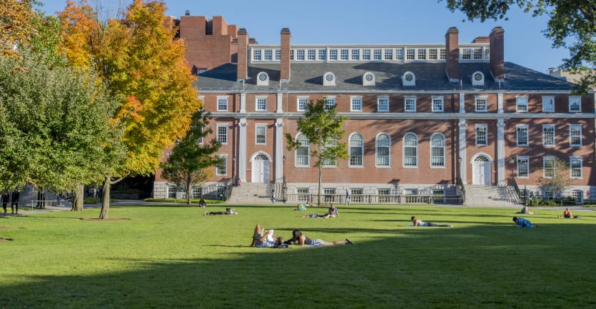 Students lie in the sun on a large grassy lawn outside a Harvard University campus building.