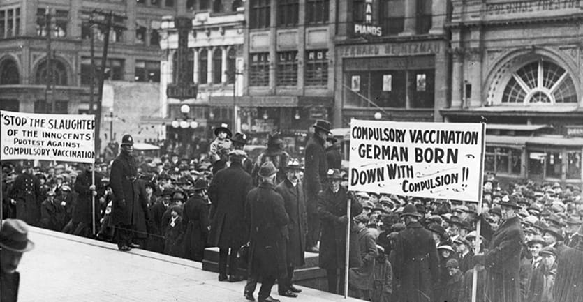Rally of an anti-vaccination league in Canada in 1919.