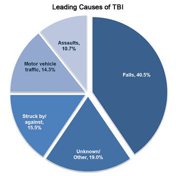 Leading causes of concussions, or traumatic brain injury (TBI)