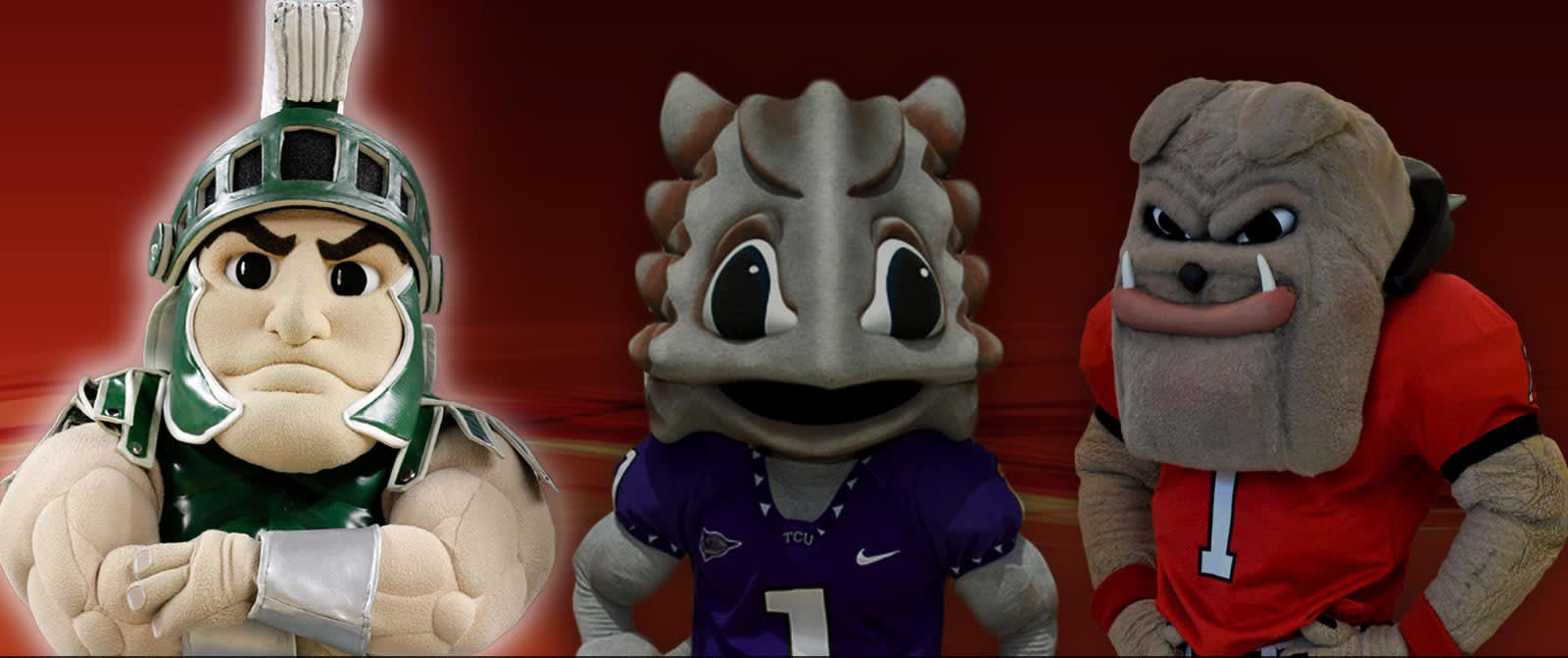 Image of three college mascots, with the far left and legendary mascot highlighted