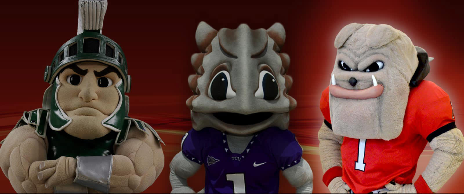 Image of three college mascots, with the middle and lovable mascot highlighted