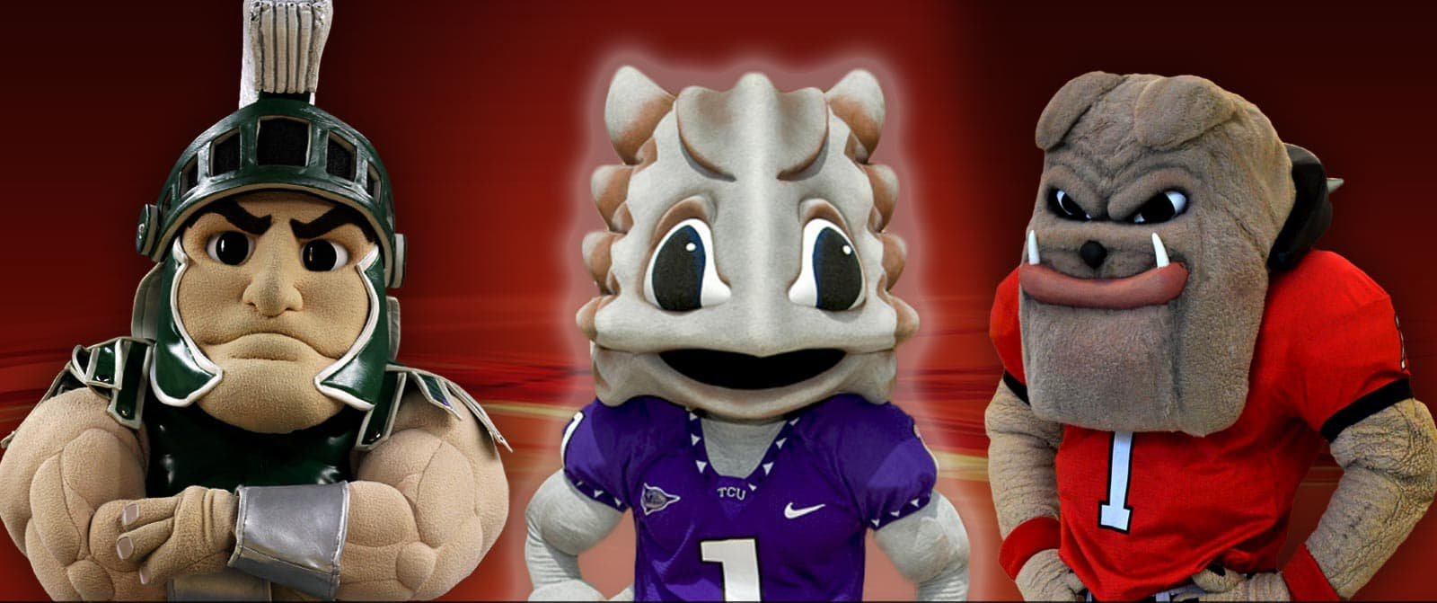 Image of three college mascots, with the far right and ludicrous mascot highlighted