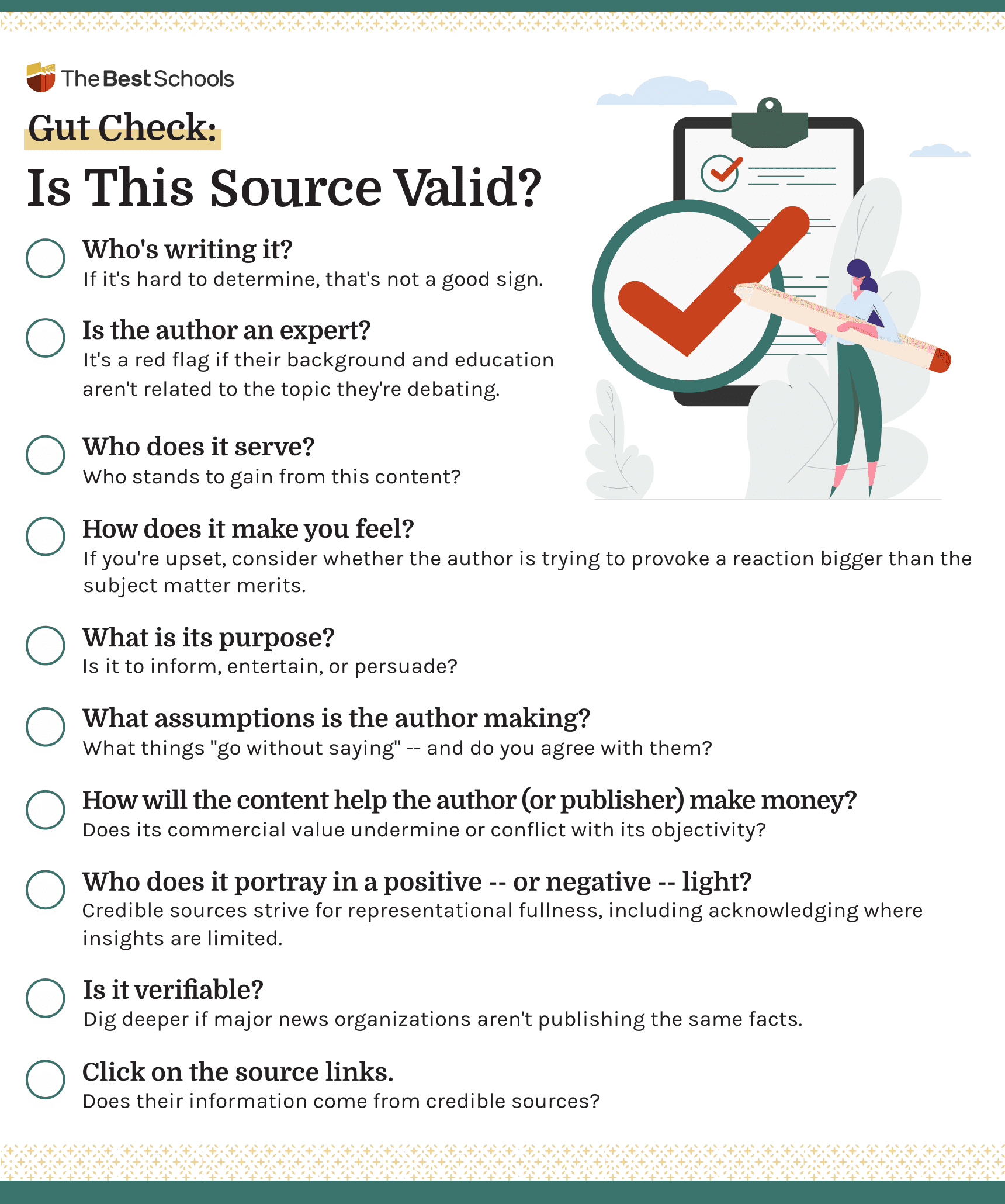 Infographic titled 'Gut Check: Is This Source Valid?' Text as follows: Who's writing it? If it's hard to determine, that's not a good sign. Is the author an expert? It's a red flag if their background and education aren't related to the topic they're debating. Who does it serve? Who stands to gain from this content? How does it make you feel? If you're feeling upset, consider whether the author is trying to provoke a reaction bigger than the subject matter merits. What is its purpose? Is it to inform, entertain, or persuade? What assumptions is the author making? What things go without saying – and do you agree with them? How will the content help the author (or publisher) make money? Does its commercial value undermine or conflict with its objectivity? Who does it portray in a positive – or negative – light? Credible sources strive for representational fullness, including acknowledging where insights are limited. Is it verifiable? Dig deeper if major news organizations aren't publishing the same facts. Click on the source links. Does their information come from credible sources?