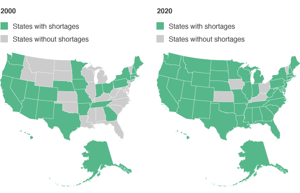 States with Projected Shortages