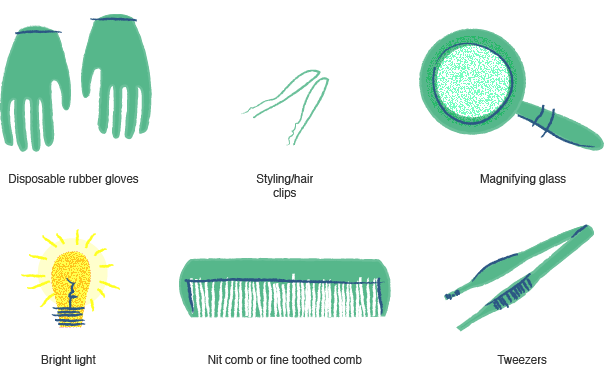Illustration of the supplies needed to get rid of lice