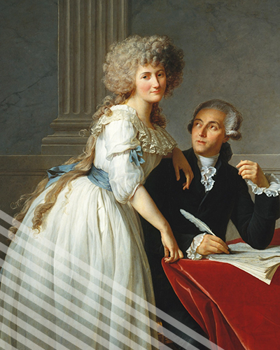 An oil painting portrait of Marie-Anne Paulze Lavoisier and her husband.