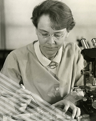 Barbara McClintock, wearing glasses and a lab coat, carefully conducts tests uwith a microscope and petri dishes.