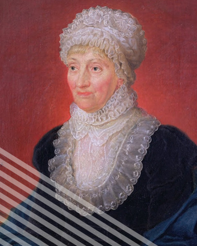 A portrait of Caroline Herschel, sporting a luscious blue frock and a frilly bib and hat.