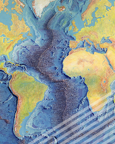 A painting of the Mid-Ocean Ridge by Heinrich Berann, based on the scientific profiles of Marie Tharp and Bruce Heezen.