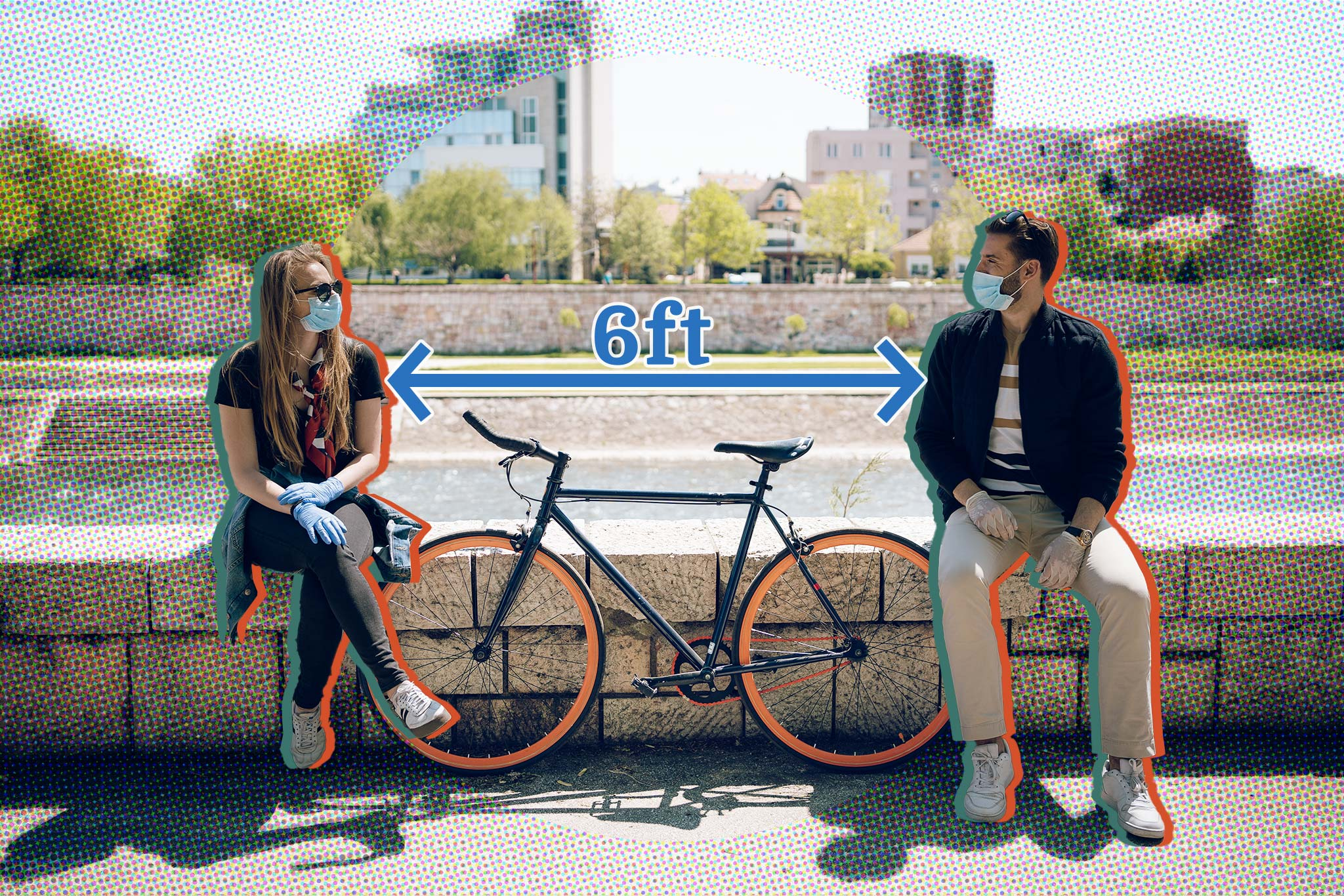 Image of two people outside, wearing masks, with a bike between them and the caption, '6 ft'