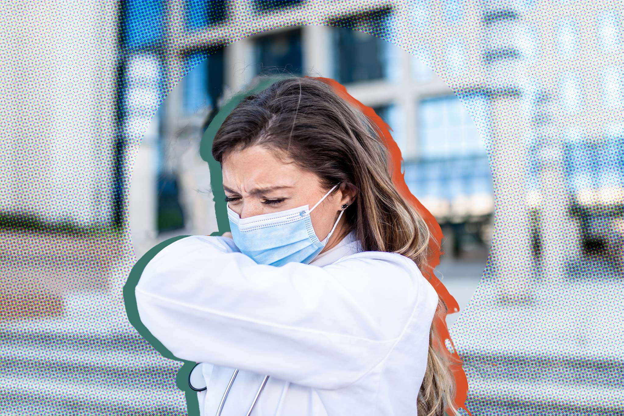 Image of a student outside wearing. mask and sneezing into their elbow