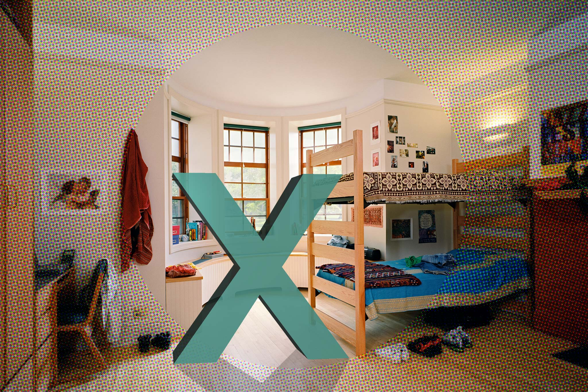 Image of empty dorm room with a large 'X' on top