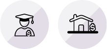 Image of two icons showing a student in a graduation cap and a house, both with dollar signs.