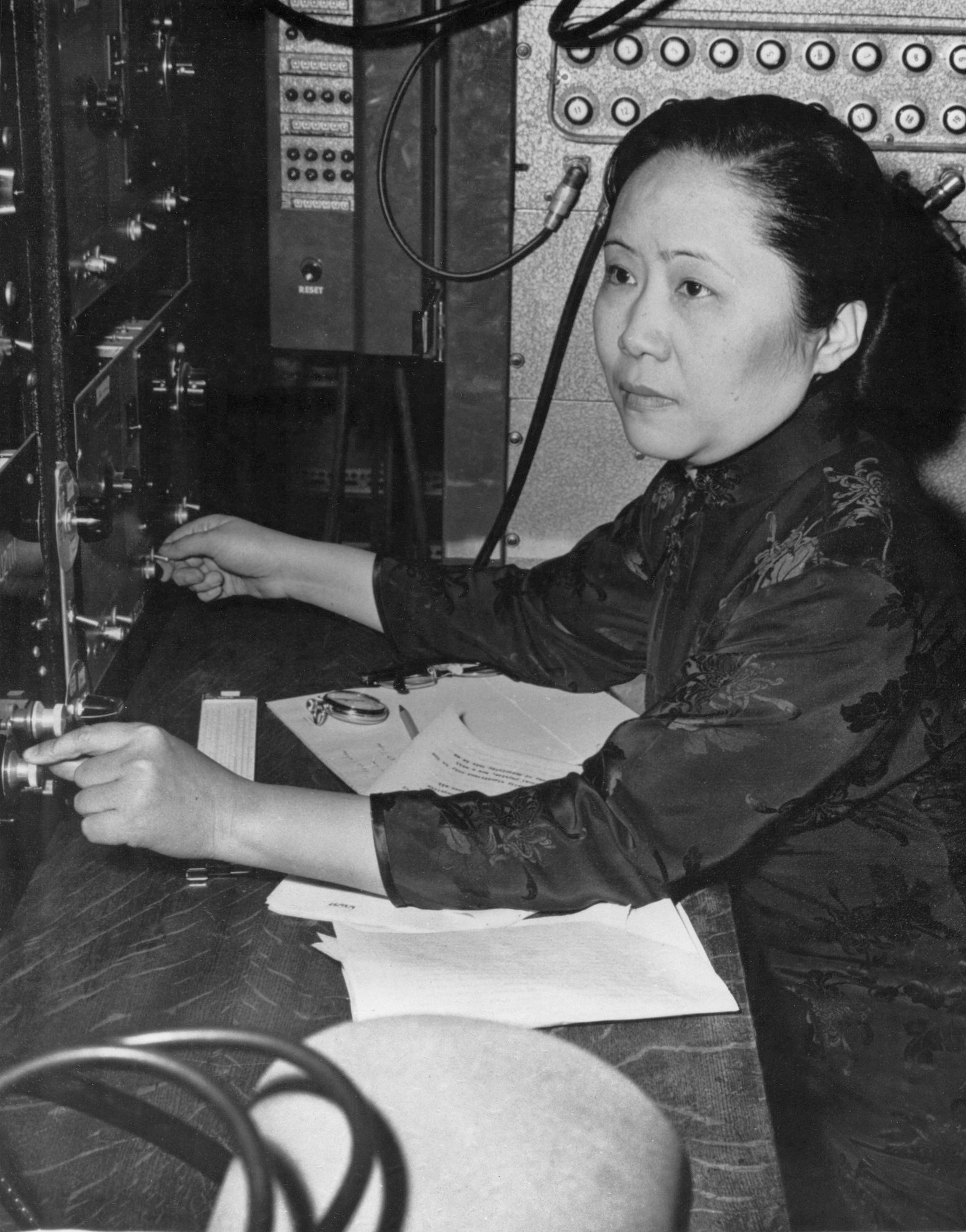 A black and white photograph of a middle-aged Chien-Shiung Wu.