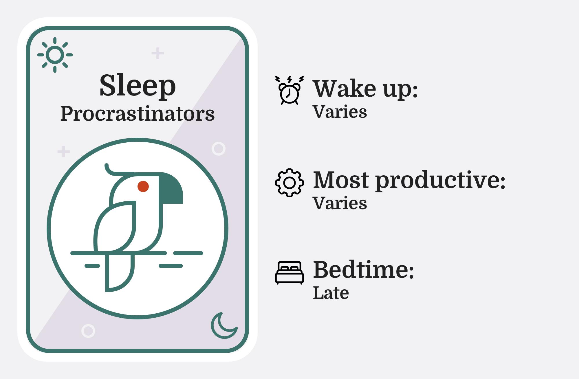 Image of a parrot with the caption 'Sleep Procrastinators'