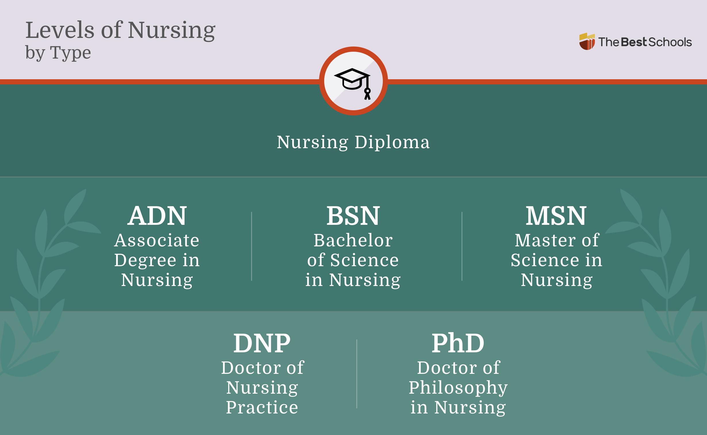 Image titled: Levels of Nursing by Type. Nursing Diploma: Associate Degree in Nursing (ADN), Bachelor of Science in Nursing (BSN), Master of Science in Nursing (MSN), Doctor of Nursing Practice (DNP), Doctor of Philosophy in Nursing (PhD).